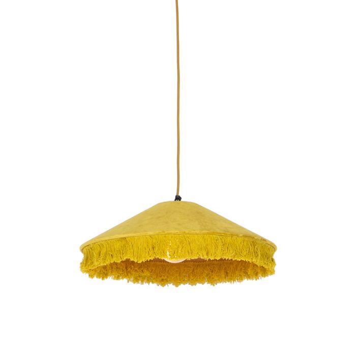 Retro-hanglamp-geel-velours-met-franjes---Frills