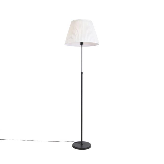 Vloerlamp-zwart-met-plisse-kap-crème-45-cm-verstelbaar---Parte