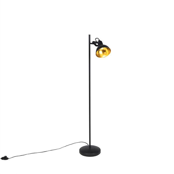 Industriële-vloerlamp-zwart-met-goud-1-lichts---Tommy