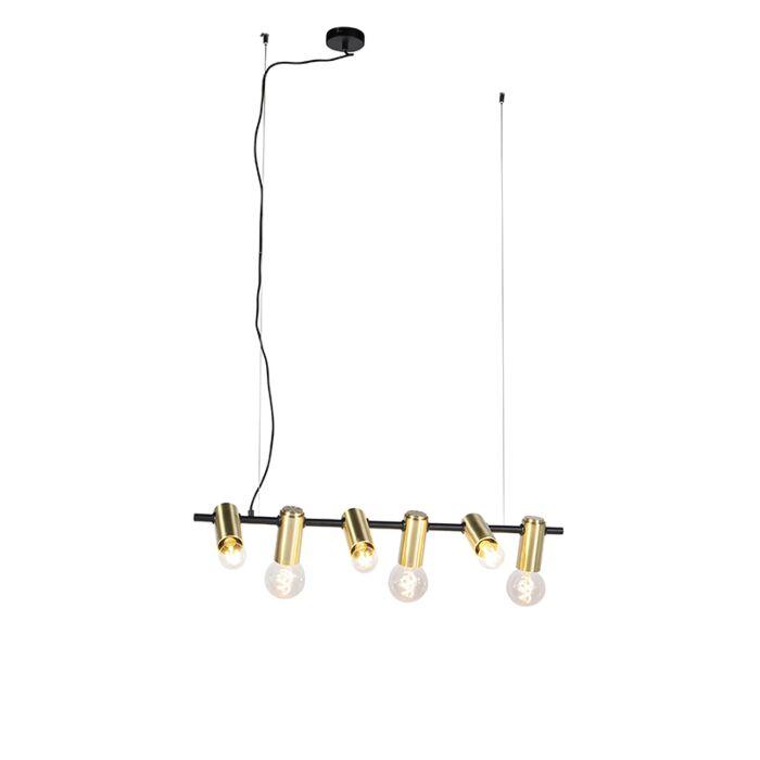 Moderne-zwart-met-messing-hanglamp-6-lichts---Facil