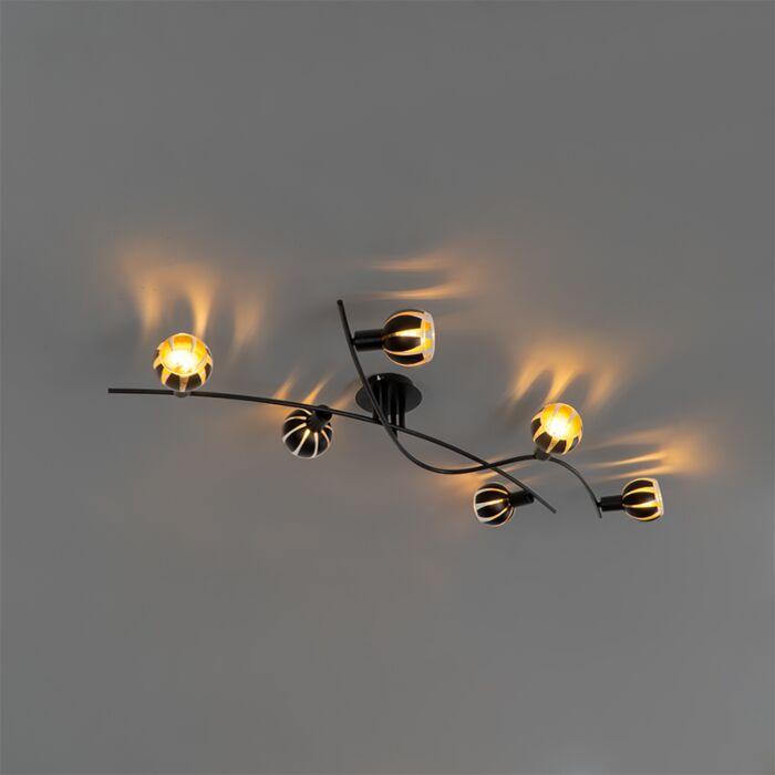 Design-plafondlamp-zwart-met-goud-6-lichts---Melone