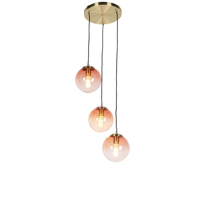 Art-deco-hanglamp-messing-45-cm-3-lichts-roze---Pallon