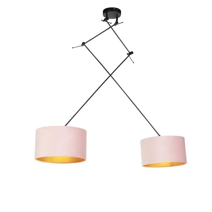 Hanglamp-met-velours-kappen-roze-met-goud-35-cm---Blitz-II-zwart