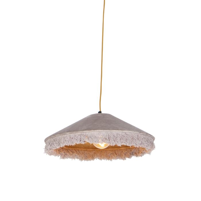 Retro-hanglamp-beige-velours-met-franjes---Frills
