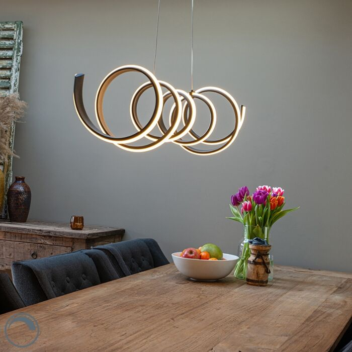 Design-hanglamp-zwart-dimbaar-incl.-LED-groot---Twisted