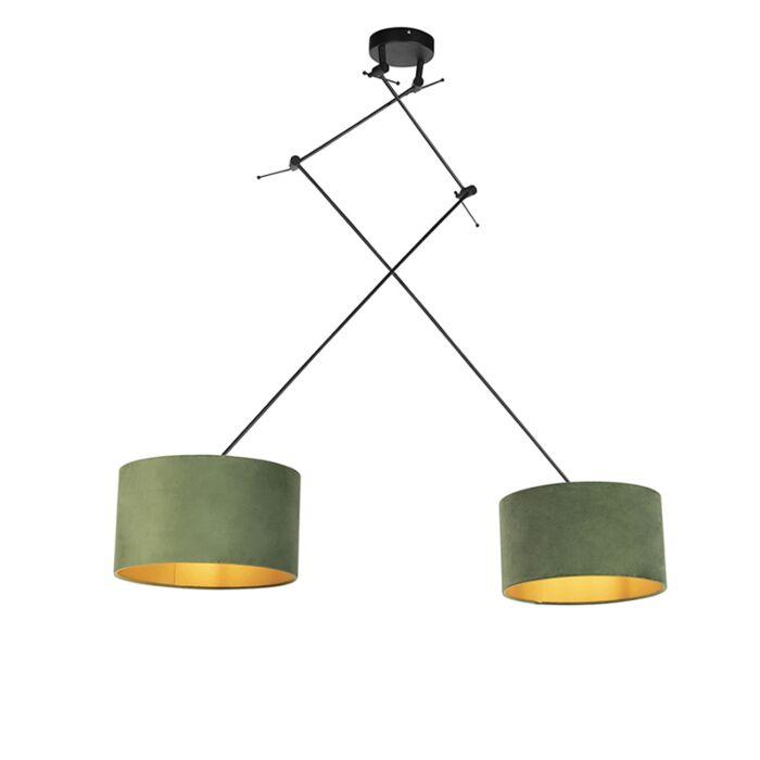 Hanglamp-met-velours-kappen-groen-met-goud-35-cm---Blitz-II-zwart