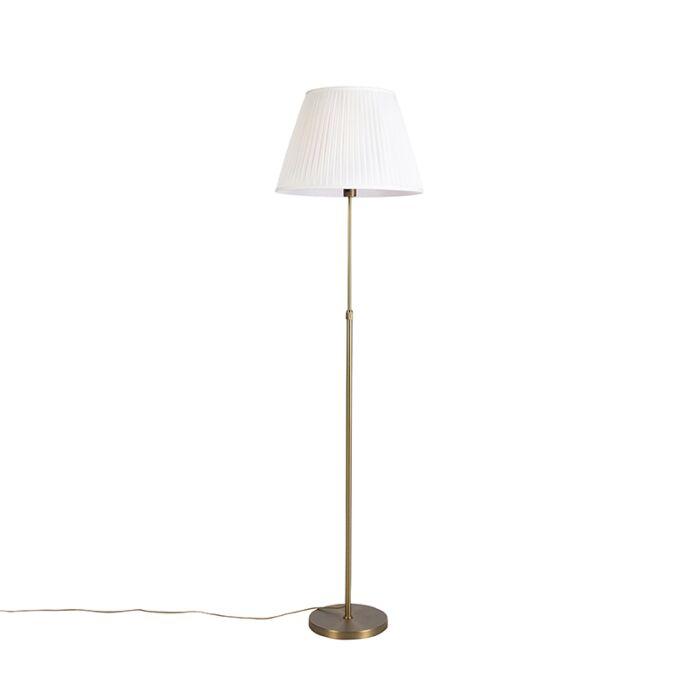 Vloerlamp-brons-met-plisse-kap-crème-45-cm-verstelbaar---Parte