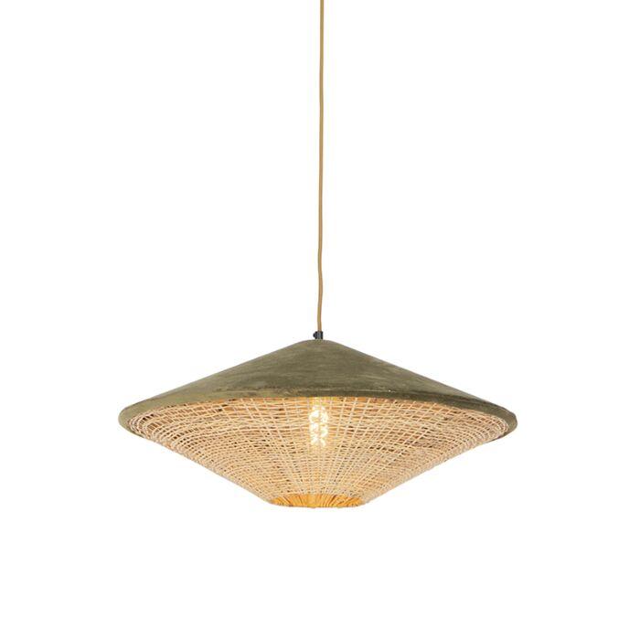 Landelijke-hanglamp-groene-velours-met-riet-60-cm---Frills-Can