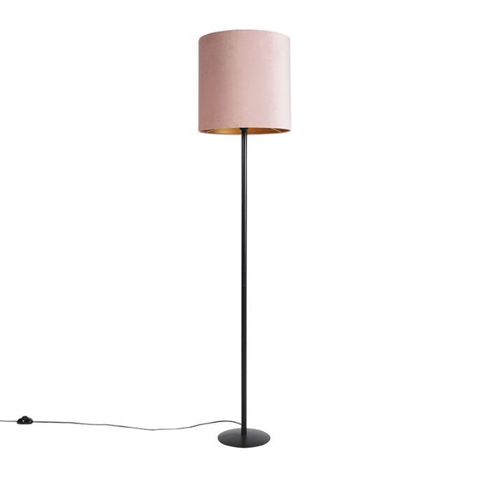 Vloerlamp-zwart-met-velours-kap-roze-met-goud-40-cm---Simplo