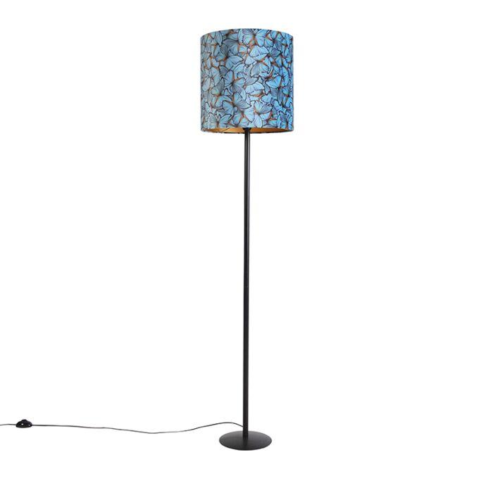 Vloerlamp-met-velours-kap-vlinderdessin-en-goud-40-cm---Simplo