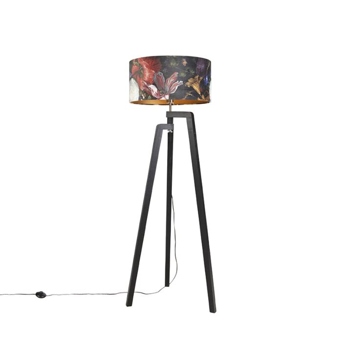 Vloerlamp-tripod-zwart-met-kap-bloemen-dessin-50-cm---Puros
