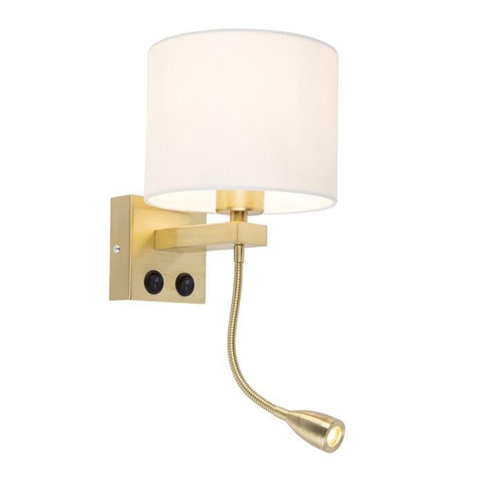 Art-deco-wandlamp-goud-met-witte-kap---Brescia