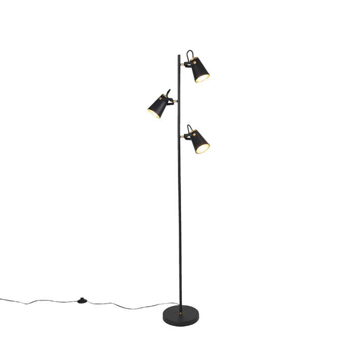 Art-Deco-vloerlamp-zwart-3-lichts---Eddie