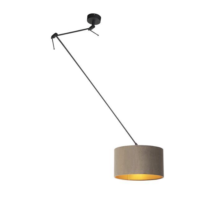 Hanglamp-met-velours-kap-taupe-met-goud-35-cm---Blitz-I-zwart