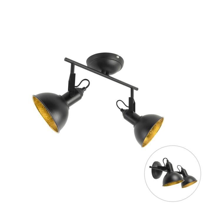 Industriële-spot-zwart-met-goud-2-lichts---Tommy