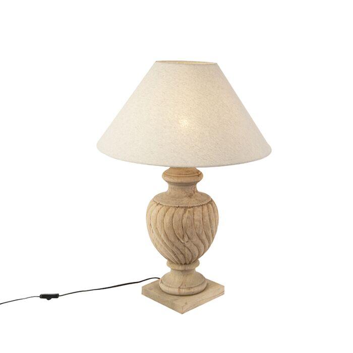 Landelijke-tafellamp-met-linnen-kap-beige-55-cm---Tansy