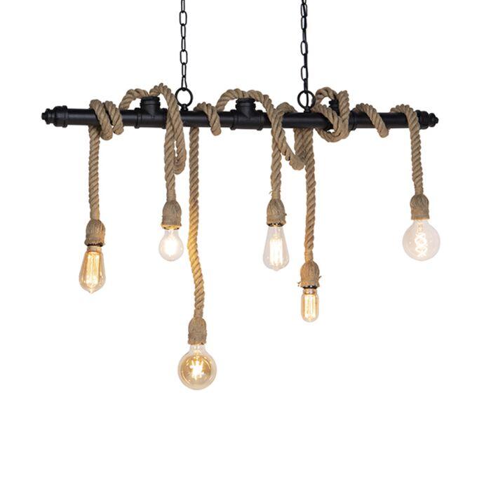 Industriële-hanglamp-zwart-6-lichts---Plural