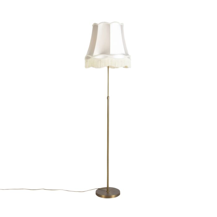 Vloerlamp-brons-met-Granny-kap-crème-45-cm-verstelbaar---Parte