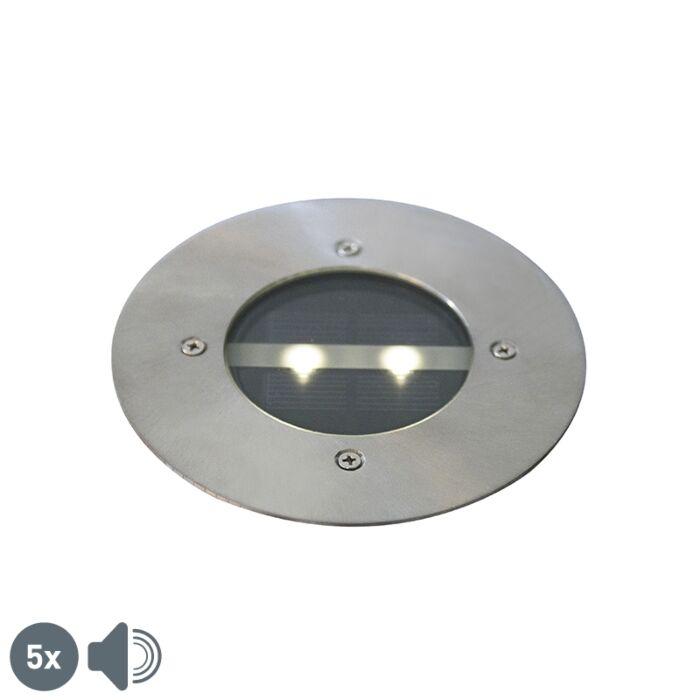 Set-van-5-moderne-grondspots-staal-IP44-solar---Tiny