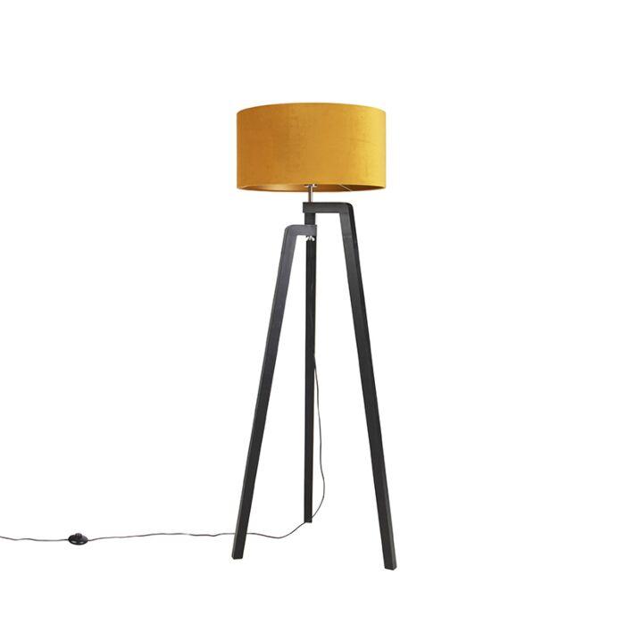 Vloerlamp-tripod-zwart-met-gele-kap-en-goud-50-cm---Puros