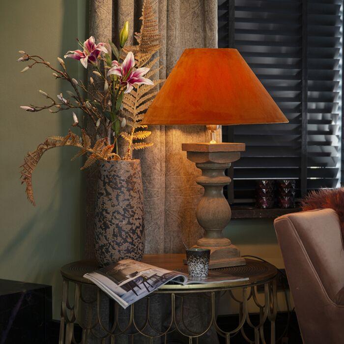 Landelijke-tafellamp-met-velours-kap-pumpkin-spice-50-cm---Hyssop
