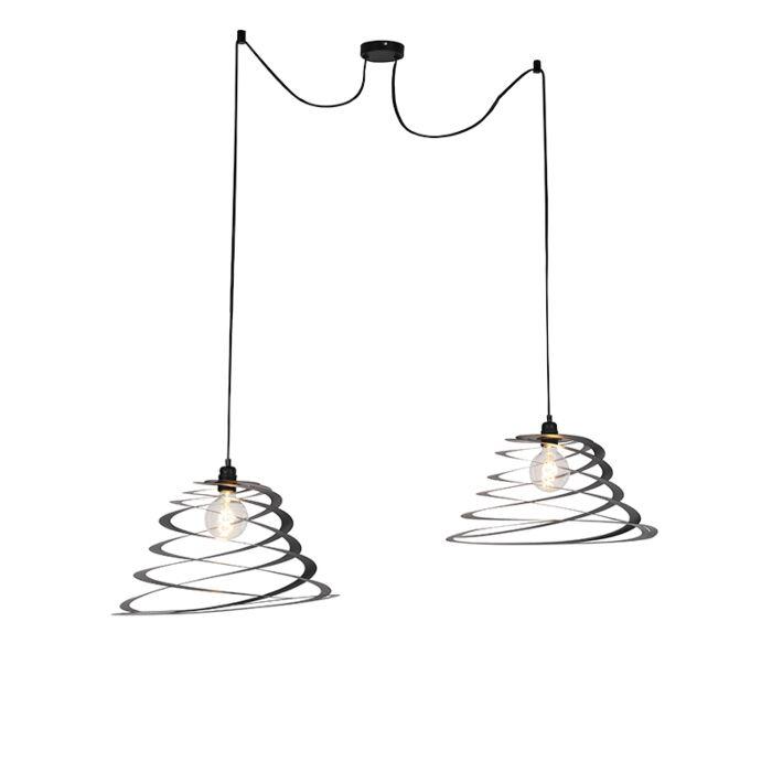 Design-hanglamp-2-lichts-met-spiraal-kap-50-cm---Scroll
