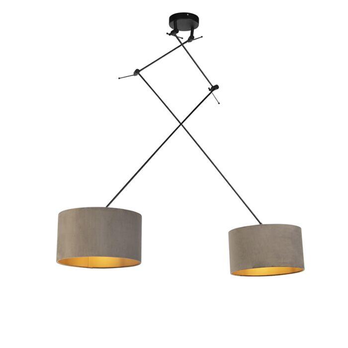Hanglamp-met-velours-kappen-taupe-met-goud-35-cm---Blitz-II-zwart