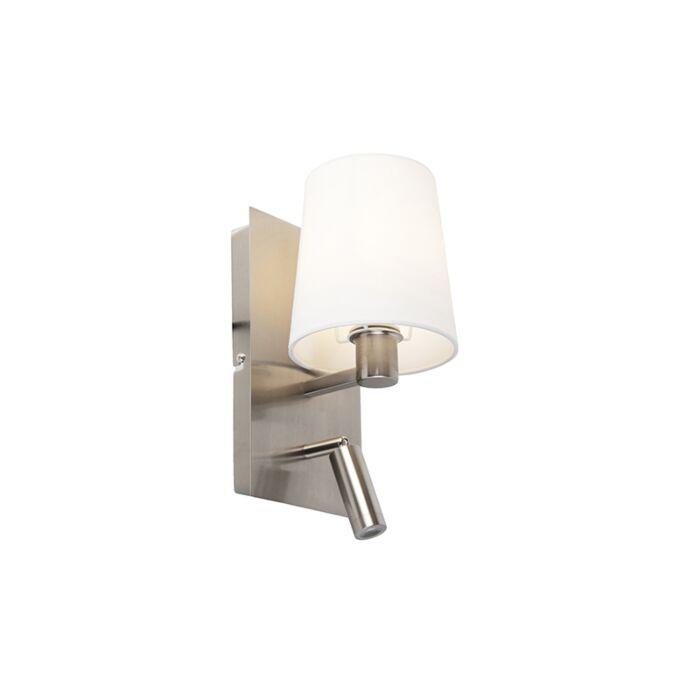 Moderne-wandlamp-staal-met-witte-kap-incl.-LED---Merlot
