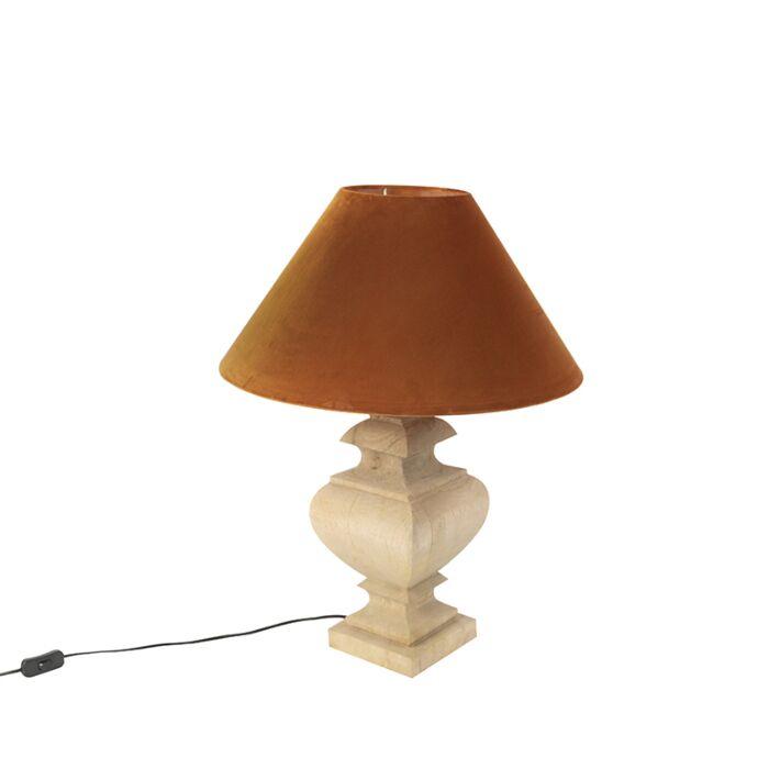 Landelijke-tafellamp-met-velours-kap-pumpkin-spice-50-cm---Fern