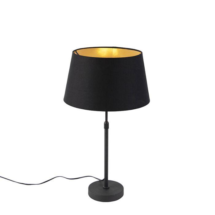 Tafellamp-zwart-met-kap-zwart-met-goud-35-cm---Parte