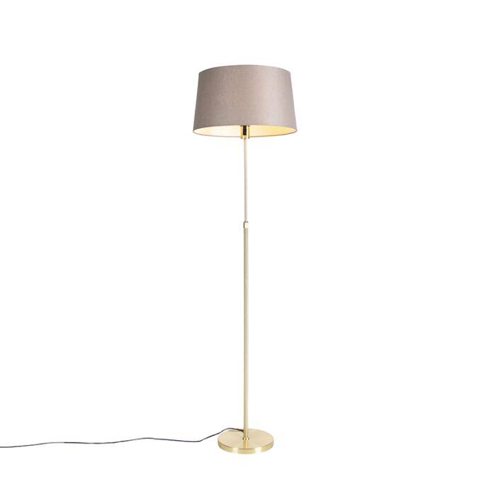 Vloerlamp-goud/messing-met-linnen-kap-taupe-45-cm---Parte