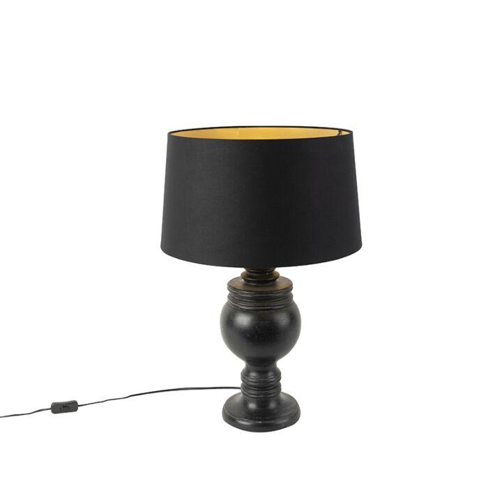 Landelijke-tafellamp-zwart-met-zwarte-kap---Sage