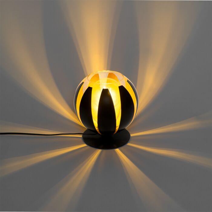 Design-tafellamp-zwart-met-goud-20-cm---Melone