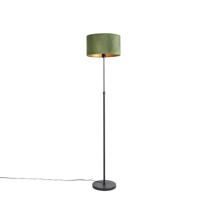Vloerlamp-zwart-met-velours-kap-groen-met-goud-35-cm---Parte