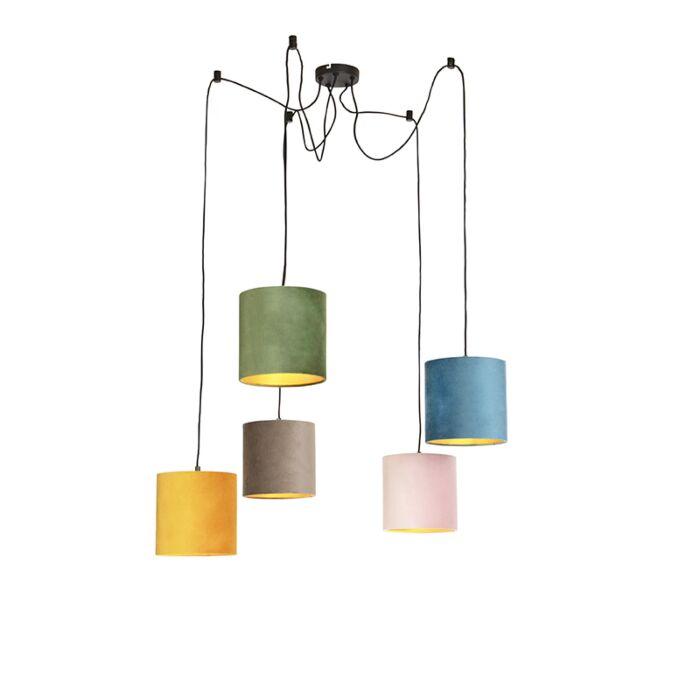 Hanglamp-met-5-gekleurde-velours-kappen-20-cm---Cava