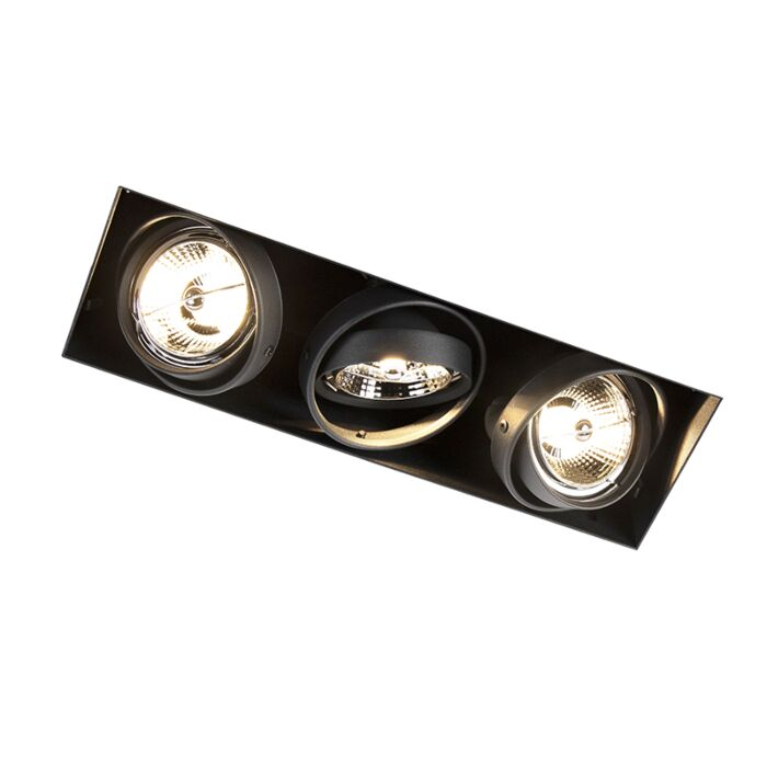 Inbouwspot-zwart-GU10-AR70-trimless-3-lichts---Oneon
