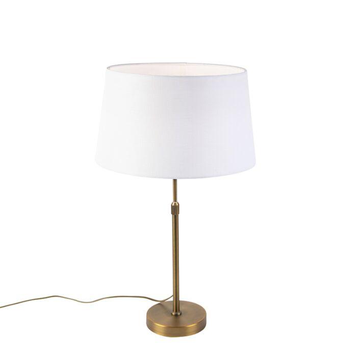 Bronze-tafellamp-met-linnen-kap-wit-35cm---Parte