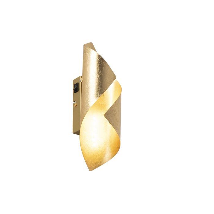 Retro-wandlamp-bladgoud-incl.-schakelaar---Belle