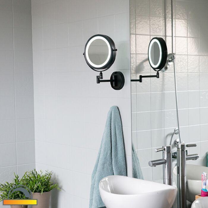 Design-badkamerspiegel-zwart-incl.-LED-verstelbaar-IP44---Vicino