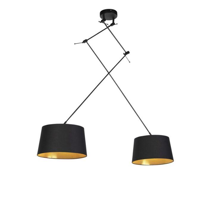 Hanglamp-met-katoenen-kappen-zwart-met-goud-35-cm---Blitz-II-zwart