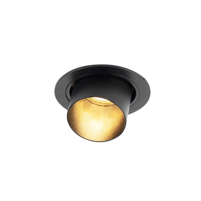 Moderne-ronde-inbouwspot-kantelbaar-zwart---Installa