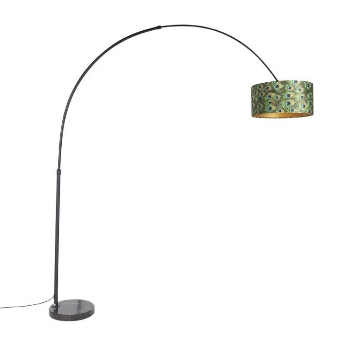Botanische-booglamp-zwart-velours-kap-pauw-dessin-50-cm---XXL