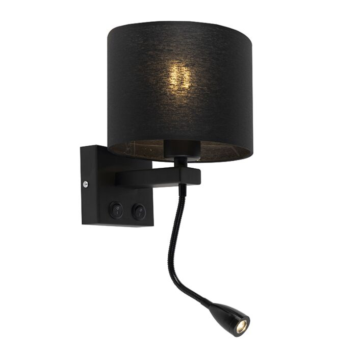 Moderne-wandlamp-zwart-met-zwarte-kap---Brescia