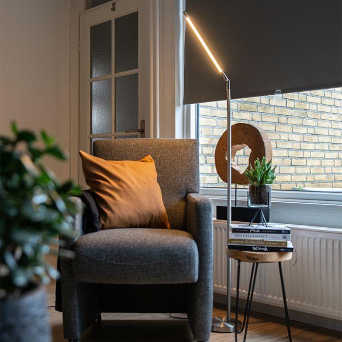 Moderne-vloerlamp-staal-incl.-LED---Berdien
