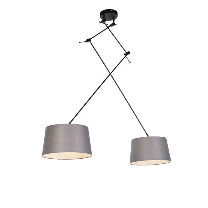 Hanglamp-met-linnen-kappen-donkergrijs-35-cm---Blitz-II-zwart