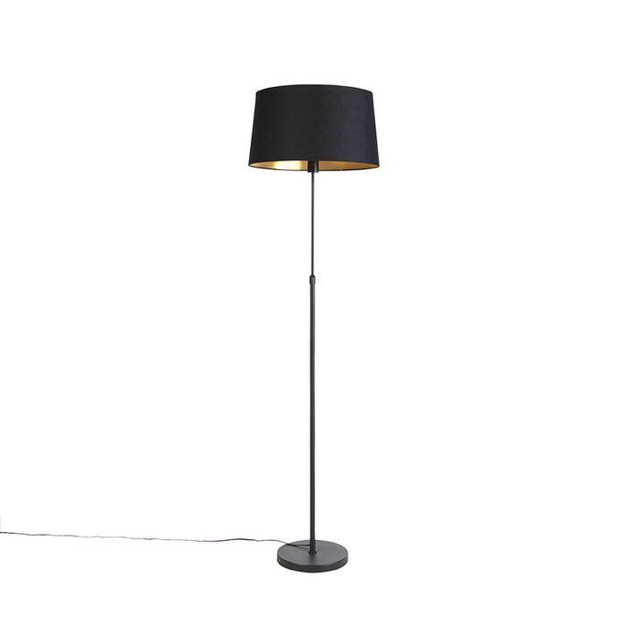 Vloerlamp-zwart-met-zwarte-kap-45-cm-verstelbaar---Parte