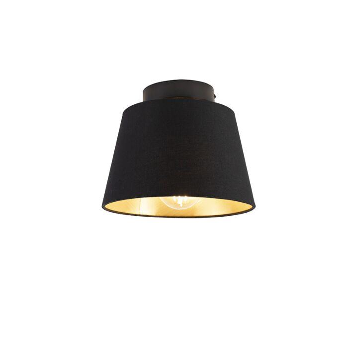 Plafondlamp-met-katoenen-kap-zwart-met-goud-20-cm---Combi-zwart