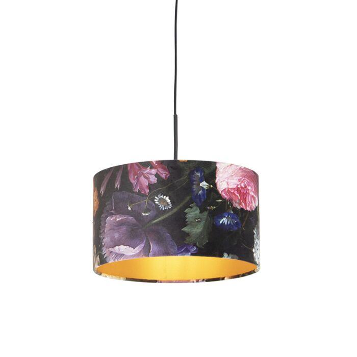 Hanglamp-met-velours-kap-bloemen-met-goud-35-cm---Combi