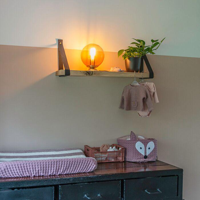 Art-deco-tafellamp-messing-met-roze-glas---Pallon