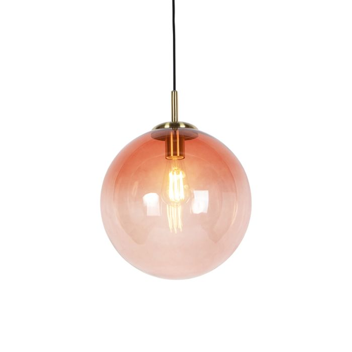 Art-deco-hanglamp-messing-met-roze-glas-33-cm---Pallon